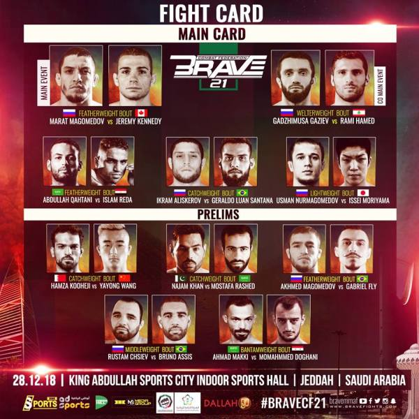 'Brave 21: Saudi Arabia' fight card