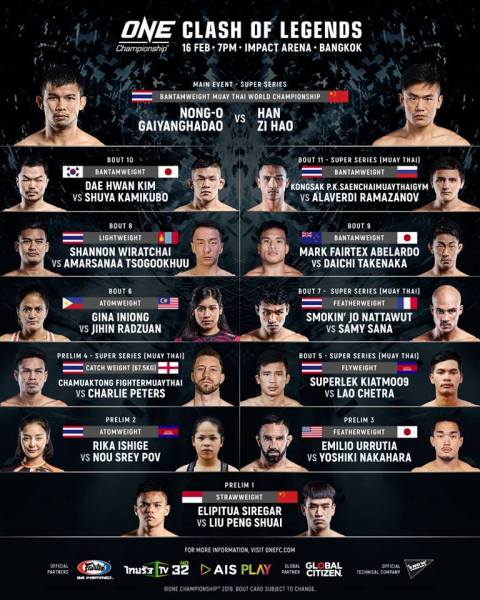'ONE: Clash of Legends' fight card