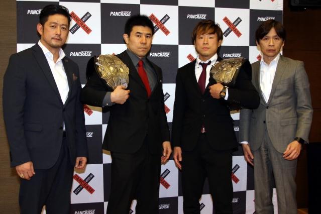 Andy Hata (leftmost), Masakazu Sakai (rightmost) (© ONE Championship)