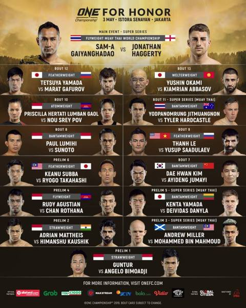 'ONE: For Honor' fight card
