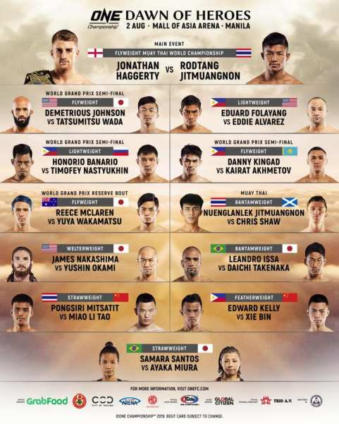 'ONE: Dawn of Heroes' fight card