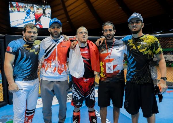 Eldar Eldarov (1st from Left), Sheikh Khaled bin Hamad Al Khalifa (2nd from Right) [©Brave Combat Federation]