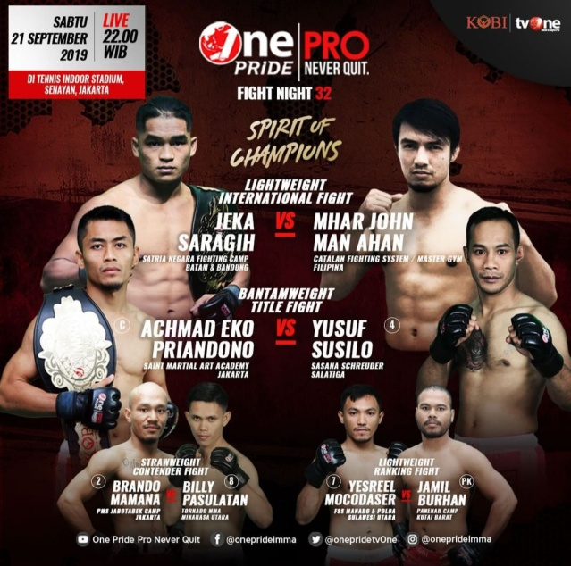 'One Pride Pro Never Quit Fight Night 32: Spirit of Champion' fight card