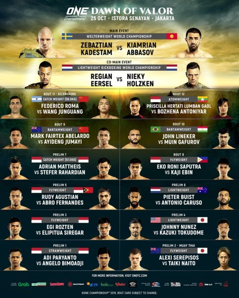 'ONE: Dawn of Valor' fight card