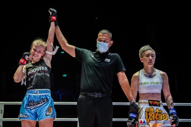 Marie Ruumet, Kregklai Klaokleng, Ayaka Miyauchi (©ONE Championship)